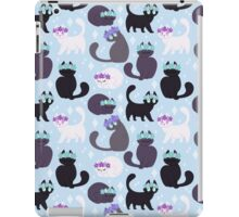 Grey cats with flower crown iPad Case/Skin