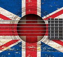 Old Vintage Acoustic Guitar with British Flag by Jeff Bartels