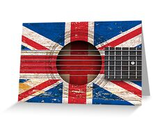 Old Vintage Acoustic Guitar with British Flag Greeting Card