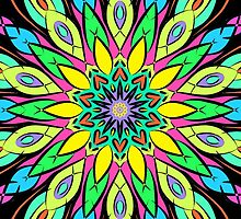 Simetric Colorful Ethnic Mandala Flower - Zentangle by MyArt23