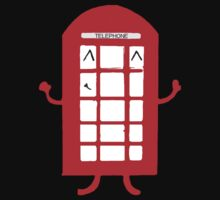 Cartoon Telephone Box One Piece - Short Sleeve