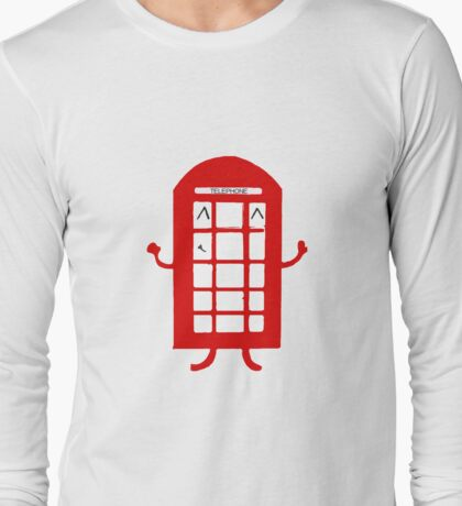 Cartoon Telephone Box Long Sleeve T-Shirt
