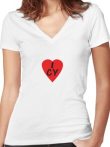I Love Cyprus - Country Code CY T-Shirt & Sticker Women's Fitted V-Neck T-Shirt