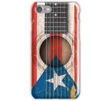 Old Vintage Acoustic Guitar with Puerto Rican Flag iPhone Case/Skin