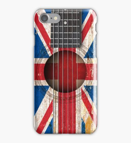 Old Vintage Acoustic Guitar with British Flag iPhone Case/Skin