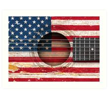 Old Acoustic Guitar with American Flag Art Print