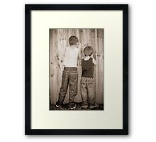 Peeping Framed Print