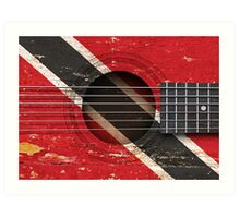Old Vintage Acoustic Guitar with Trinidadian Flag Art Print