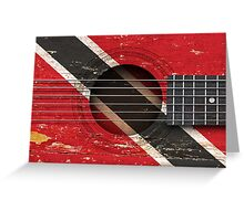 Old Vintage Acoustic Guitar with Trinidadian Flag Greeting Card