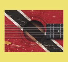 Old Vintage Acoustic Guitar with Trinidadian Flag Kids Clothes