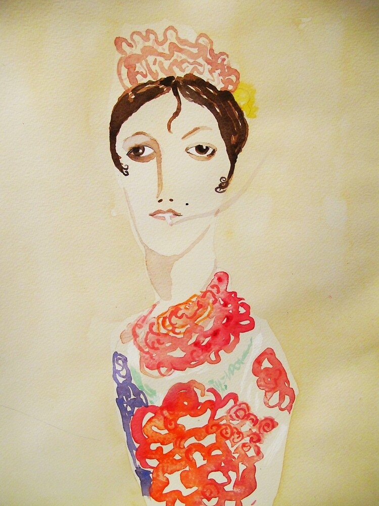 spanish woman with cigarette by donna malone