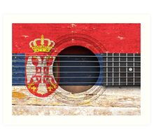 Old Acoustic Guitar with Serbian Flag Art Print