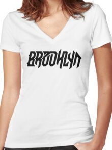 Brooklyn [Black] Women's Fitted V-Neck T-Shirt