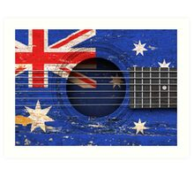 Old Vintage Acoustic Guitar with Australian Flag Art Print