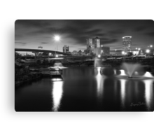 Tulsa Lights - Centennial Park View (Black and White) Canvas Print