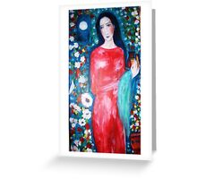 """  lady with perfume "" Greeting Card"