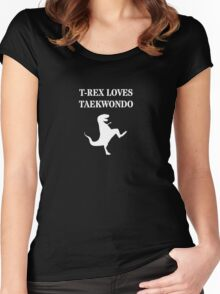 T-Rex Loves Taekwondo Women's Fitted Scoop T-Shirt