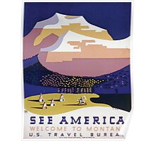 WPA United States Government Work Project Administration Poster 0108 See America Welcome to Montana Poster