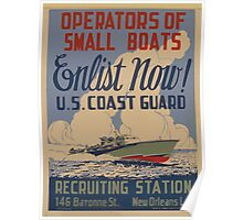 WPA United States Government Work Project Administration Poster 0884 Operators of Small Boats Enlist Now Coast Guard Poster