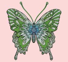 Original Butterfly Design Green One Piece - Long Sleeve