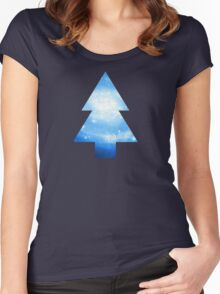 Dipper Pines Galaxy Tree Print Women's Fitted Scoop T-Shirt