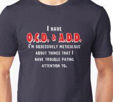 OCD & ADD - White/Red Unisex T-Shirt