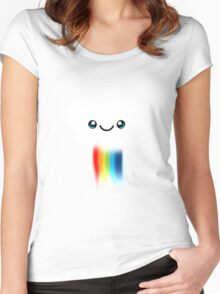 Happy Kawaii Rainbow Cloud Women's Fitted Scoop T-Shirt