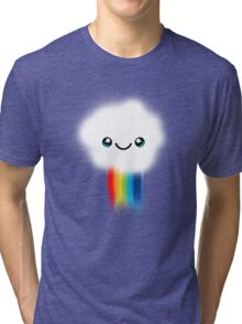 Happy Kawaii Rainbow Cloud Tri-blend T-Shirt