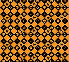 Halloween Black and Orange Diamond Pattern by ArtVixen