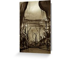 below mountain couples... a forest pass exists Greeting Card