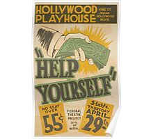 WPA United States Government Work Project Administration Poster 0458 Hollywood Playhouse Help Yourself Poster