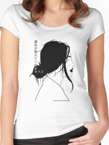 Fate Will Tell All (Black Linework) Women's Fitted Scoop T-Shirt