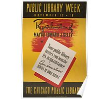 WPA United States Government Work Project Administration Poster 0857 Public Library Week Chicago Poster