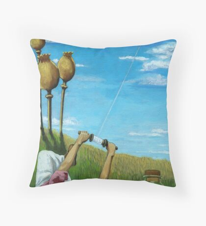 Flight of the Bumblebee - contemporary oil painting Throw Pillow