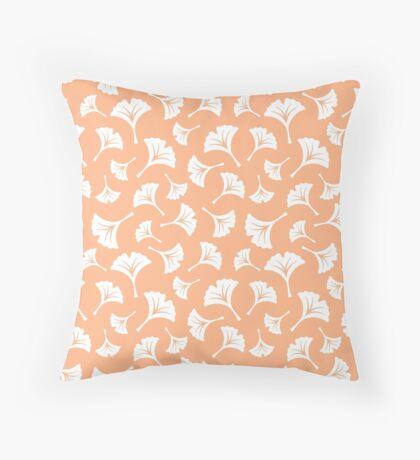 Peach Ginkgo Leaves Throw Pillow