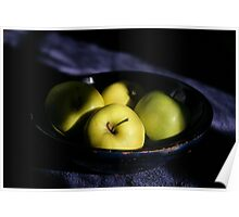 Green apples blue bowl Poster