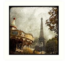 The Carousel and The Eiffel Tower Art Print