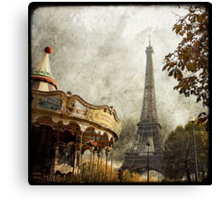 The Carousel and The Eiffel Tower Canvas Print