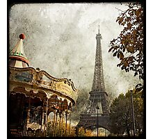 The Carousel and The Eiffel Tower Photographic Print