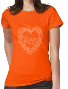 LOVE! (it's white on black) Womens Fitted T-Shirt