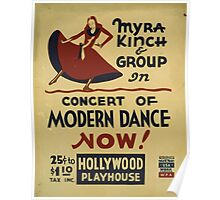 WPA United States Government Work Project Administration Poster 0459 Myra Kinch and Group Concert of Modern Dance Hollywood Playhouse Poster