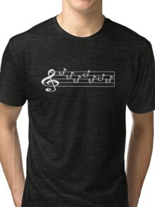 SCORPIO - Words in Music - V-Note Creations (white text) Tri-blend T-Shirt