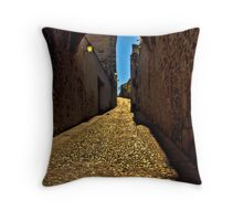 Old arch over narrow street in Caceres Throw Pillow