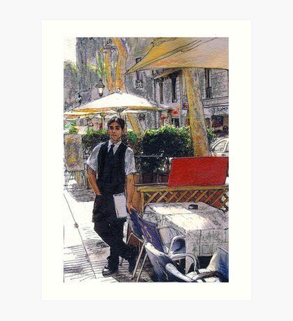 Waiter on La Rambla Art Print