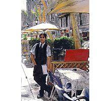 Waiter on La Rambla Photographic Print