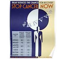 WPA United States Government Work Project Administration Poster 0328 Delay Reduces the Chance for Recovery Stop Cancer Now Poster