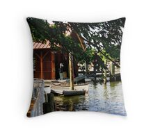 A dock on the Potomac River Throw Pillow