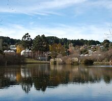 Lake Daylesford - view of the Lakehouse Hotel by Helen Greenwood