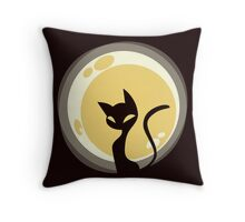 Cat and Moon Throw Pillow