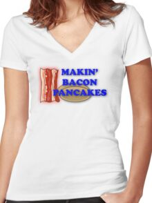 Adventure Time-Makin' Bacon Pancakes Women's Fitted V-Neck T-Shirt
